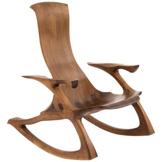 1980s Solid Walnut Studio Crafted Rocking Chair For Sale