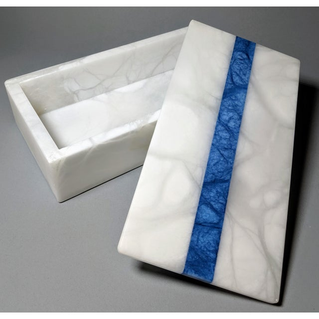 Contemporary Hermes Inspired Alabaster Box With Navy Blue Stripe For Sale - Image 3 of 13