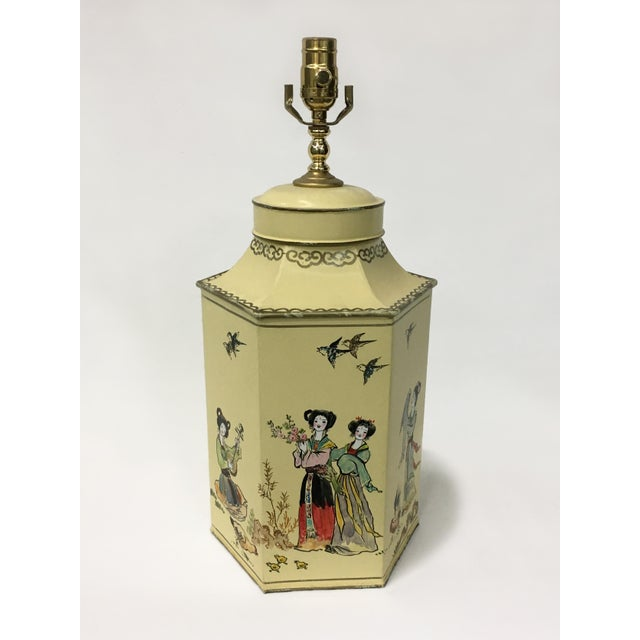 1970s English Export Hexagon Chinoiserie Tea Canister Lamp For Sale - Image 5 of 5