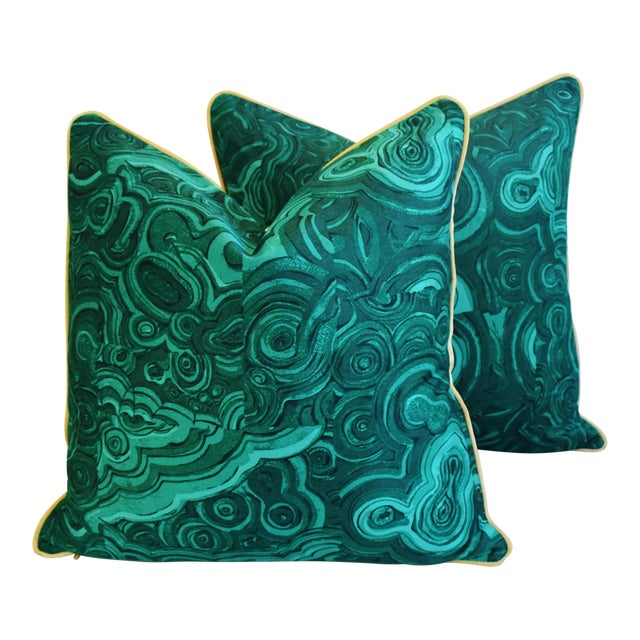 Pair of large custom-tailored pillows in a cotton fabric depicting a rich emerald green malachite pattern called...