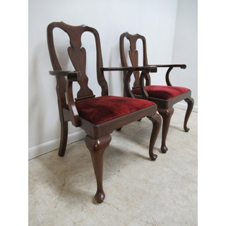 1980s Vintage Henkel Harris Mahogany Queen Ann Chippendale Dining Room Arm Chairs- A Pair Preview