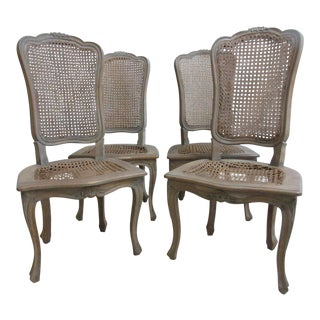 Antique Italian Regency Double Caned Dining Chairs - Set of 4 For Sale