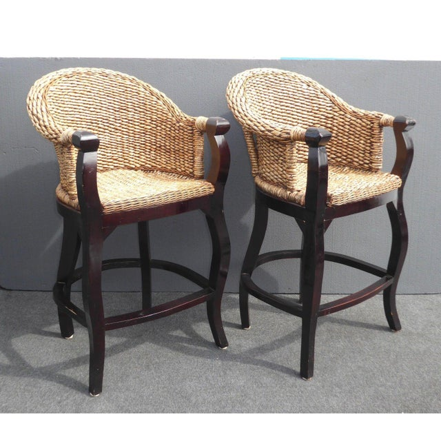 Tiki Palm Beach Style Woven Wicker Bar Stools - A Pair - Image 5 of 11