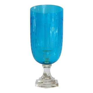 Mid-Century Blue Glass Candle Holder For Sale