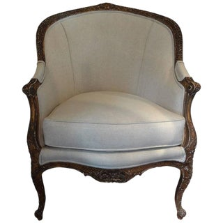 19th Century Antique French Regency Style Gilt Wood Bergere For Sale