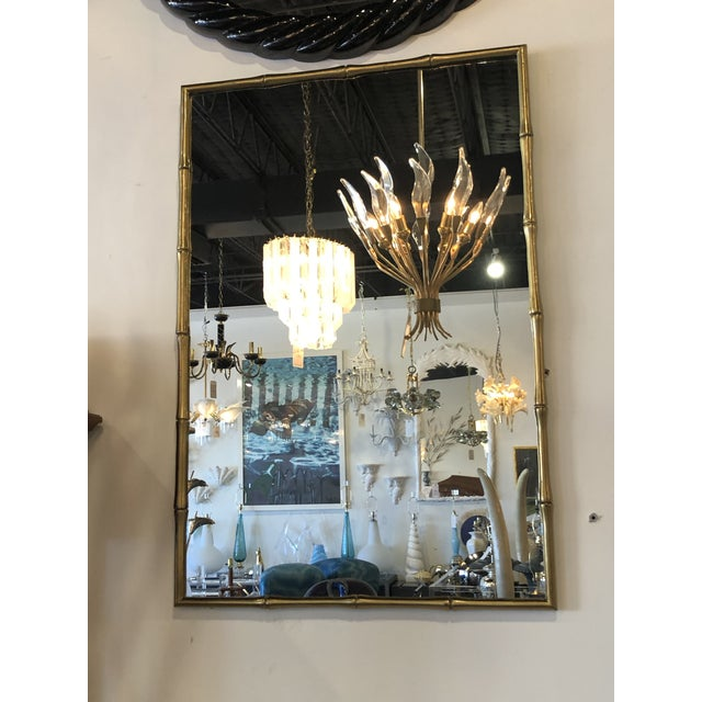 Vintage Hollywood Regency Faux Bamboo Brass Wall Mirror For Sale In West Palm - Image 6 of 13