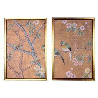 Shimmering Copper Silk Chinoiserie Wallpaper Diptych Paintings - 2 Pieces For Sale