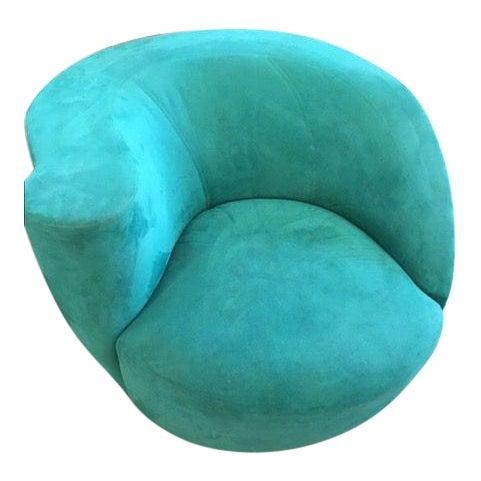 Modern Directional Vladimir Kagan Teal Nautilus Swivel Chair - Image 1 of 1