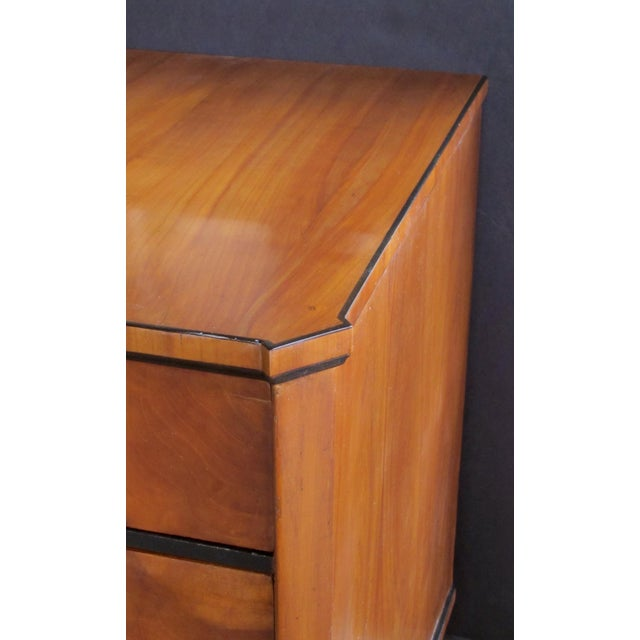A Handsome and Well-Figured Austrian Biedermeier Cherry Wood 3-Drawer Chest With Ebonized Highlights For Sale - Image 4 of 6