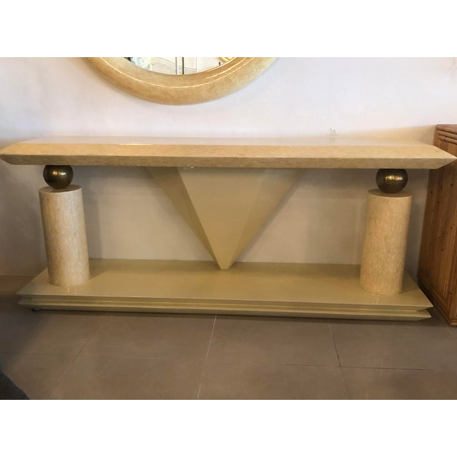 Vintage Bone Brass Console Table and Wall Mirror Set For Sale - Image 12 of 13