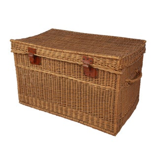 1910 Antique French Wicker Trunk For Sale