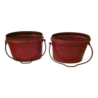 Show Stopping Fire Engine Red Antique Zinc Buckets - a Pair