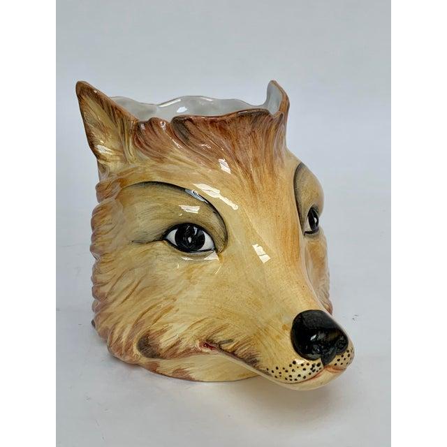 Italian Porcelain Fox Head Vase or Cachepot For Sale - Image 11 of 11
