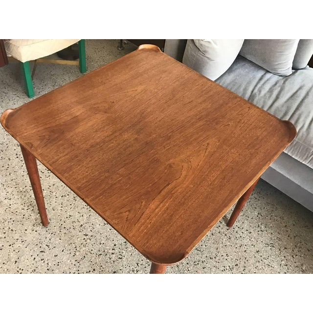 1950s Mid-Century Modern Finn Juhl for Baker Teak Card Table For Sale - Image 9 of 10