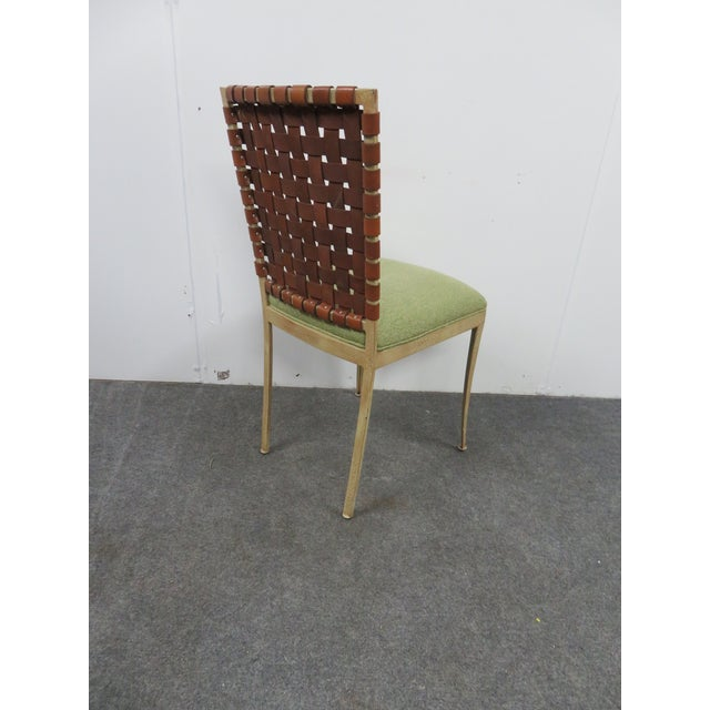 Late 20th Century Modern Harden Iron & Leather Side Chair For Sale - Image 5 of 6
