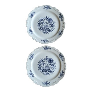 Vintage Blue Dresden China Plates - A Pair For Sale