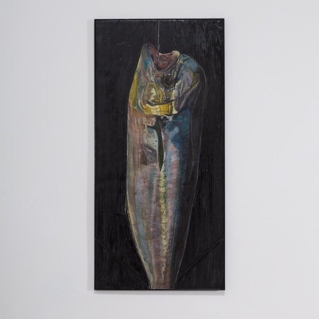 A Lily Lewis Lacquered and Painted Panel titled The Bass 2009 Prices include 10% VAT which is removed for items shipped...