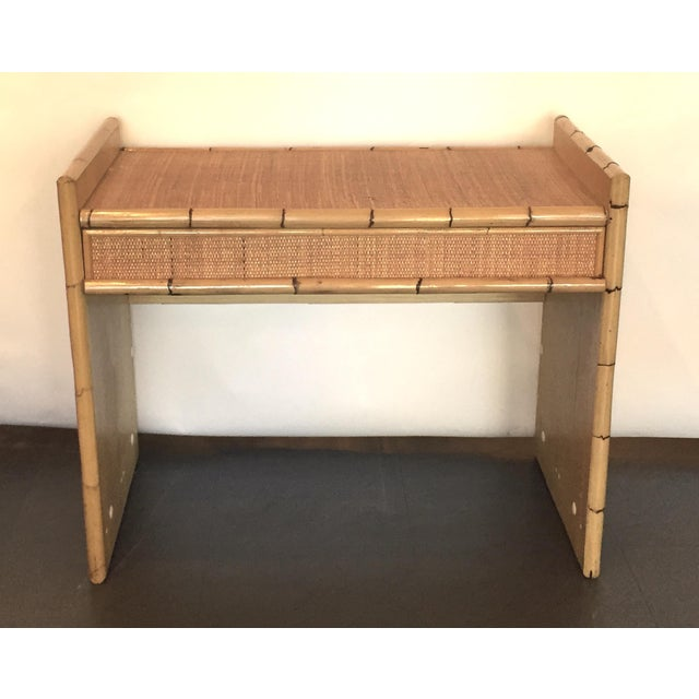 Rattan and Bamboo Bar with Server & Drawer - Image 3 of 4