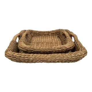1970s Boho Chic Wicker Nesting Baskets With Handles - a Pair For Sale