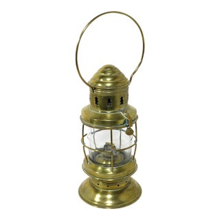 Antique Nautical Solid Brass Oil Lantern For Sale
