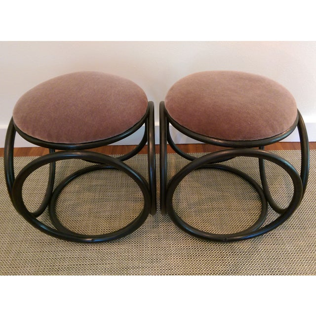 Mohair Thonet-Style Bentwood Ottomans - A Pair - Image 5 of 7
