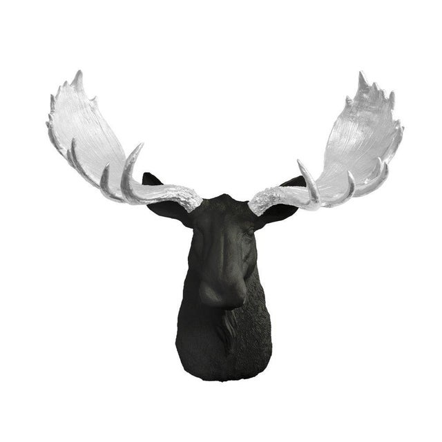 Boho Chic Black & Silver Antler Bust For Sale - Image 3 of 3