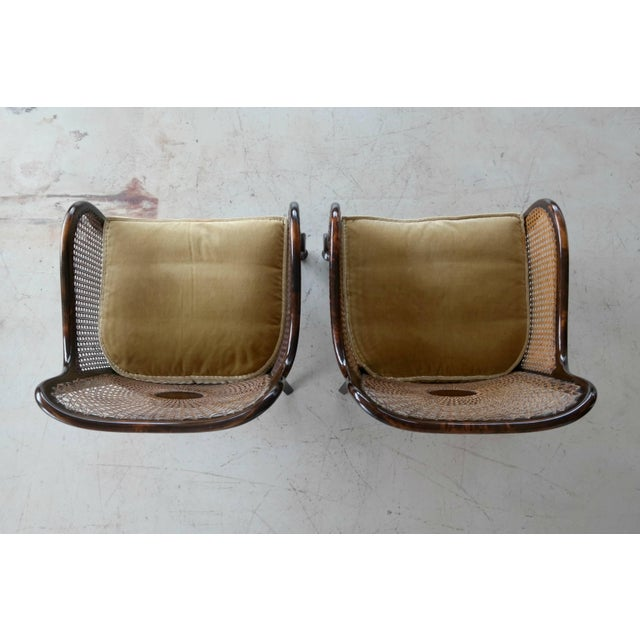 Pair of Danish Early 20th Century Caned Library Bergère Chair in Stained Birch - Image 9 of 10