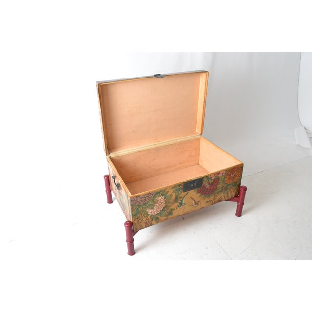 Leather Hand-Painted Chinese Trunk on Stand - Image 3 of 6