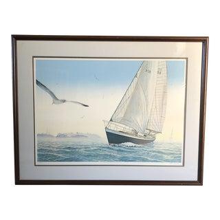 Vintage Sailboat Signed Print For Sale