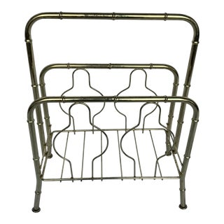 1960s Brass Bamboo Inspired Chinoiserie Magazine Rack For Sale