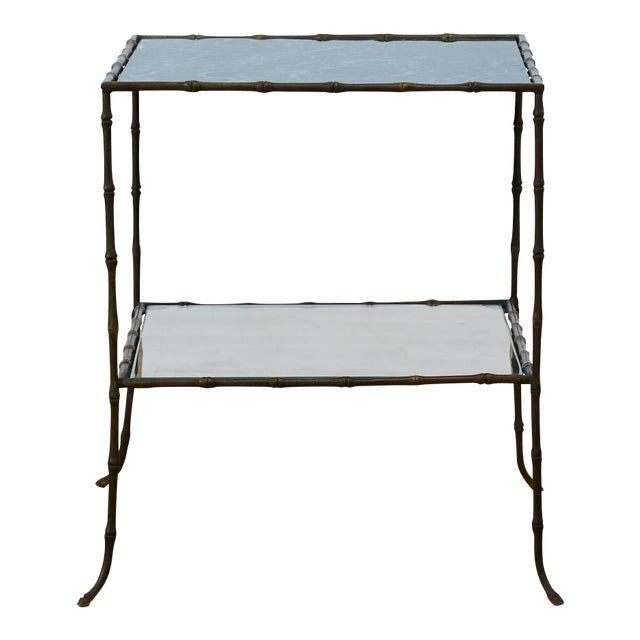 Vintage Maison Bauges Style Two-Tier Faux Bamboo Side Table For Sale