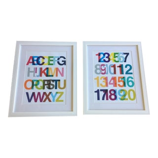 Framed Modern Children's Art Prints - a Pair