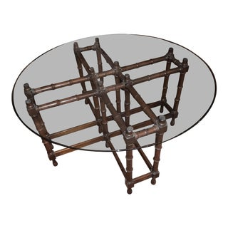 Bamboo Coffee Table With Glass Top For Sale