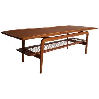 Danish Arne Hovmand-Olsen Teak and Cane Coffee Table Circa 1960 For Sale