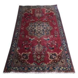 Crimson & Blue Sarouk Persian Rug- 3′4″ × 6′1″