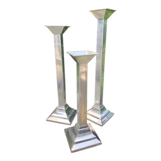 Bloomingdale's Silverplate Candle Holders - Set of 3 For Sale