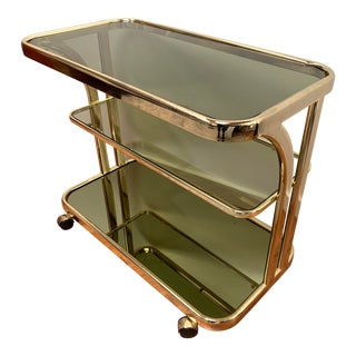 1970s Morex Italian Smoked Glass Bar Cart For Sale