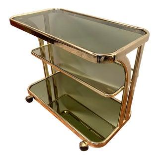 1970s Morex Mid Century Modern Italian Smoked Glass Brass Bar Cart For Sale