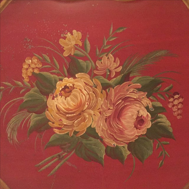 Antique Floral Tole Tray - Image 3 of 7