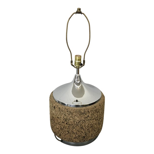 Mid-Century Modern Cork & Chrome Lamp For Sale
