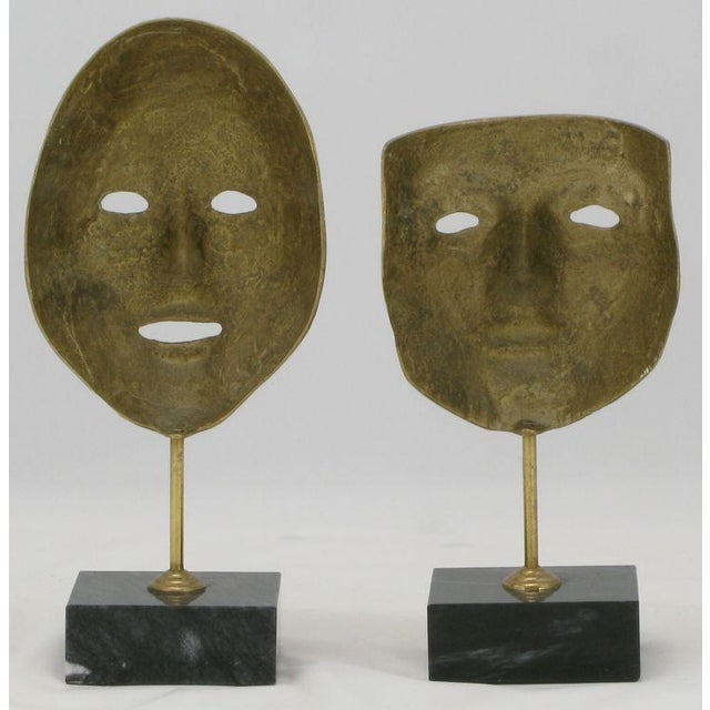 Contemporary Pair Brass Carnivale Masks Mounted On Black Marble For Sale - Image 3 of 8