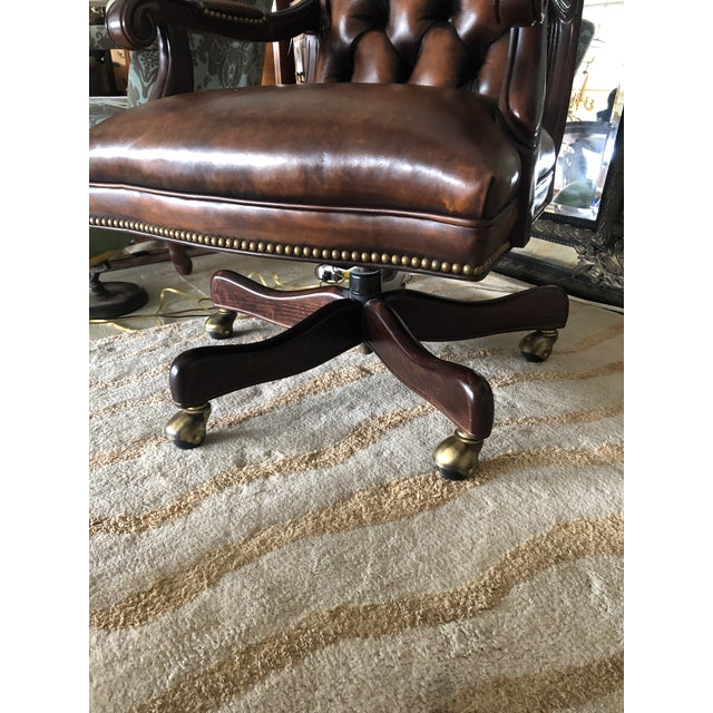 Traditional Tufted Swivel Leather and Wood Desk Chair For Sale - Image 3 of 12