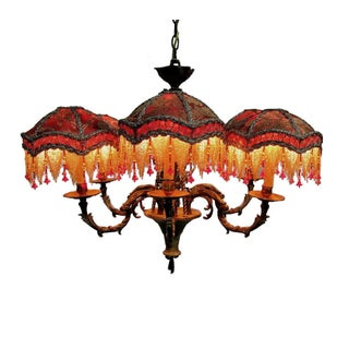 Kathleen Caid Hand Made Brass Chandelier with Beaded Victorian Shades Preview