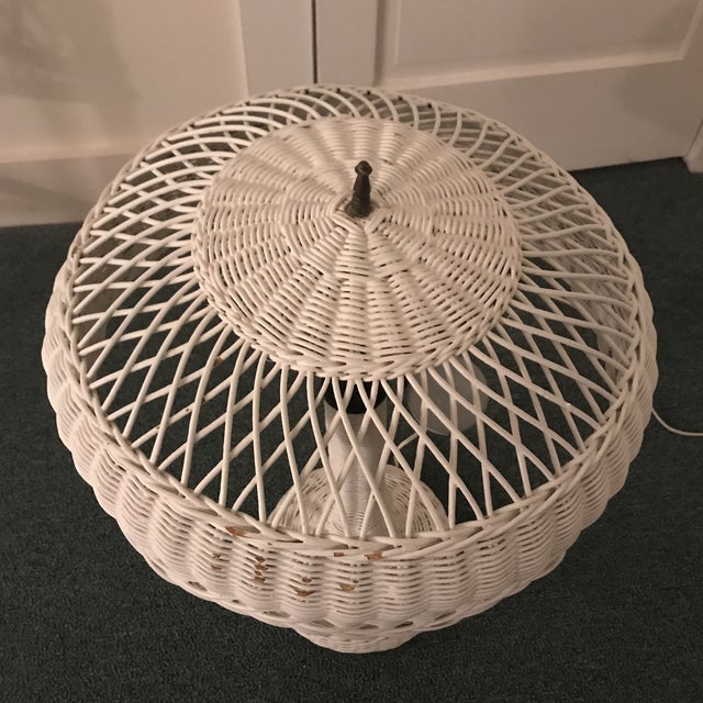 Boho Chic 1950s Vintage Wicker Lamp For Sale - Image 3 of 13