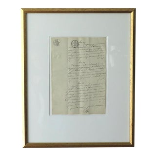 Framed Antique French Document For Sale