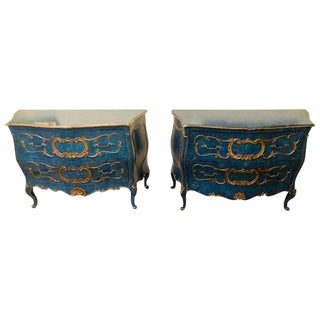 Pair of Royal Blue and Parcel-Gilt Decorated Bombay Commodes or Chests For Sale