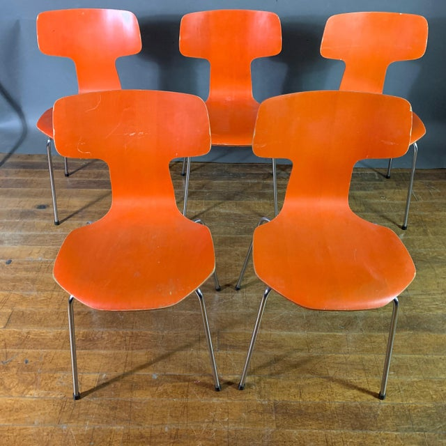 """Arne Jacobsen Model 3103 Hammer chair in orange (also known as the """"T-Chair"""") from the grand prix series designed for..."""