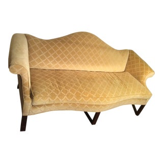 Modern Victorian Style Yellow Settee For Sale