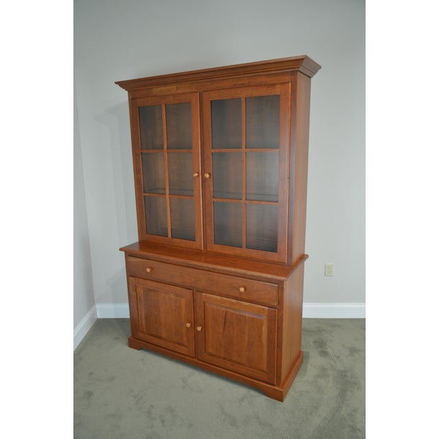 Brown Woxall Woodcraft Hand Crafted Solid Cherry China Cabinet Hutch For Sale - Image 8 of 12
