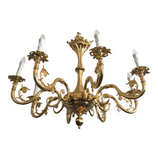 Italian Brass Casting Chandelier in Gold Metal Frame For Sale